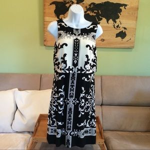 Donna Morgan White/Black two layer dress